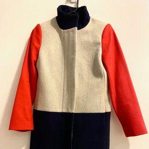 NWOT J. Crew Colorblock Red Blue Gray Wool Coat 0P